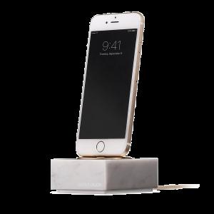 Native Union iPhone Dock+ i hvit marmor og gull