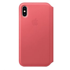 Apple folio-skinndeksel til iPhone XS – peony pink