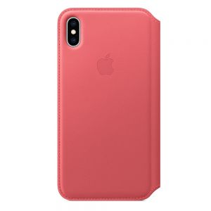 Apple folio-skinndeksel til iPhone XS Max – peony pink