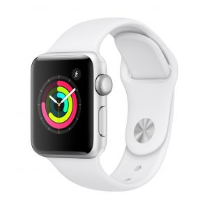 Apple Watch Series 3 GPS 38 mm - sølv med hvit Sport Band