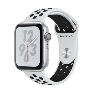 Apple Watch Series 4 Nike+ GPS 44 mm - sølv med platina/svart Nike Sport Band