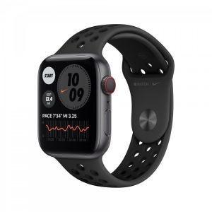 Apple Watch Series 6 Nike+ Cellular 44 mm - stellargrå med antrasitt/svart Nike Sport Band