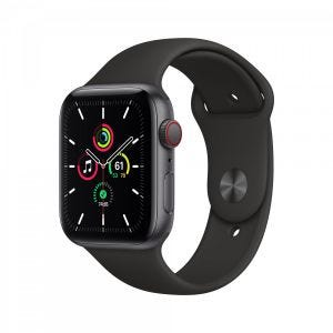Apple Watch SE Cellular 44 mm - Stellargrå med svart Sport Band