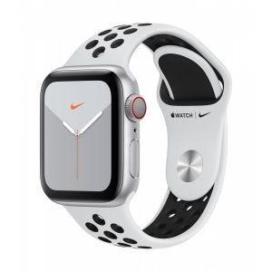 Apple Watch Series 5 Nike+ Cellular 40 mm - sølv med platina/svart Nike Sport Band