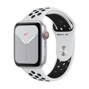 Apple Watch Series 5 Nike+ Cellular 44 mm - sølv med platina/svart Nike Sport Band