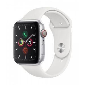 Apple Watch Series 5 Cellular 44 mm - Aluminium i sølv med hvit Sport Band