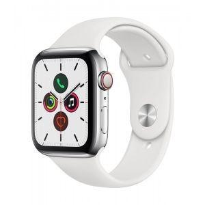 Apple Watch Series 5 Cellular 44 mm - Rustfritt stål i sølv med hvit Sport Band