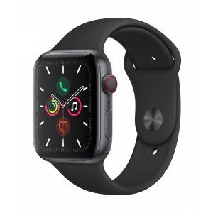 Apple Watch Series 5 Cellular 44 mm - Aluminium i stellargra med svart Sport Band