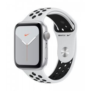 Apple Watch Series 5 Nike+ GPS 44 mm - sølv med platina/svart Nike Sport Band