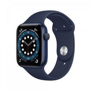 Apple Watch Series 6 44 mm Aluminium - Blå med marineblått sport band