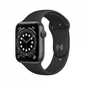Apple Watch Series 6 44 mm Aluminium - Stellargrå med svart sport band