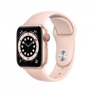 Apple Watch Series 6 Cellular 40 mm - Aluminium i gull med sandrosa Sport Band