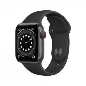 Apple Watch Series 6 Cellular 40 mm - Aluminium i stellargrå med svart Sport Band