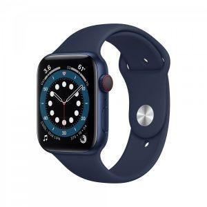 Apple Watch Series 6 Cellular 44 mm - Aluminium i blå med marineblått Sport Band