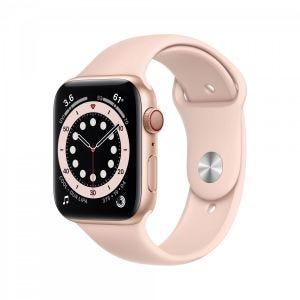 Apple Watch Series 6 Cellular 44 mm - Aluminium i gull med sandrosa Sport Band