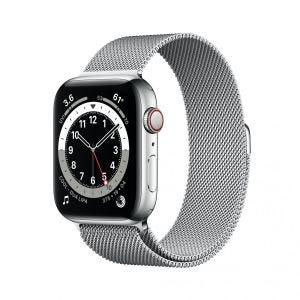 Apple Watch Series 6 Cellular 44 mm - Rustfritt stål i sølv med Milanese loop i sølv