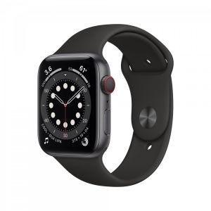 Apple Watch Series 6 Cellular 44 mm - Aluminium i stellargra med svart Sport Band