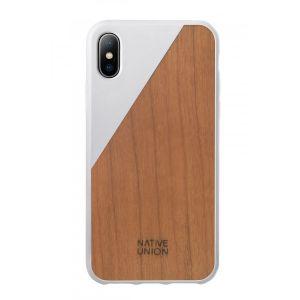 Native Union iPhone XS Clic Wooden-deksel i hvit med kirsebærtre
