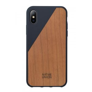 Native Union iPhone XS Clic Wooden-deksel i marineblå  med kirsebærtre