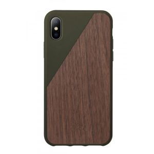 Native Union iPhone XS Clic Wooden-deksel i olivengrønn med valnøttre