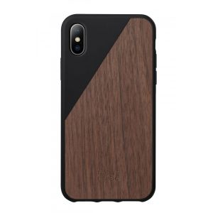 Native Union iPhone XS Clic Wooden-deksel i svart med valnøttre