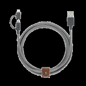 Native Union Twin head Belt Cable 2 m - zebrastripet