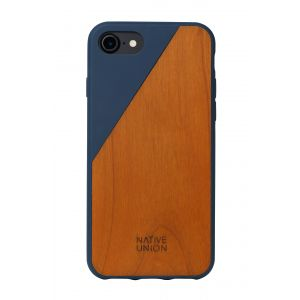 Native Union iPhone 8/7 Clic Wood-deksel - marineblå med kirsebærtre