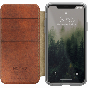 Nomad Clear Folio lommeboketui i skinn til iPhone XS - klar/brun