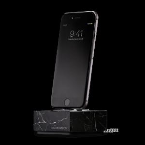 Native Union iPhone Dock+ i svart marmor og stellargrå