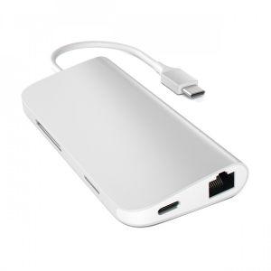 Satechi USB-C Multiport-adapter med Ethernet og kortleser - sølv