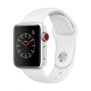 Apple Watch Series 3 Cellular 38 mm - sølv med hvit Sport Band