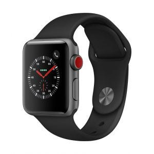 Apple Watch Series 3 Cellular 38 mm - stellargrå med svart Sport Band
