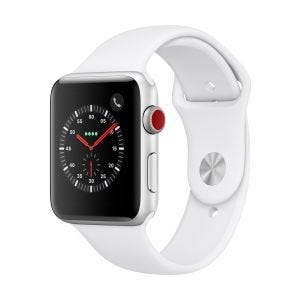 Apple Watch Series 3 Cellular 42 mm - sølv med hvit Sport Band