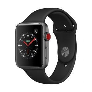 Apple Watch Series 3 Cellular 42 mm - stellargrå med svart Sport Band