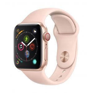 Apple Watch Series 4 Cellular 40 mm - gull med sandrosa Sport Band