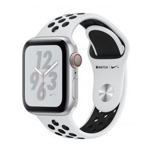 Apple Watch Series 4 Nike+ Cellular 40 mm - sølv med platina/svart Nike Sport Band