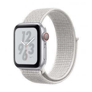 Apple Watch Series 4 Nike+ Cellular 40 mm - sølv med Summit-hvit Nike Sport Loop