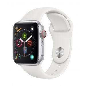 Apple Watch Series 4 Cellular 40 mm - sølv med hvit Sport Band