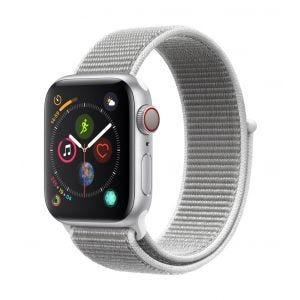 Apple Watch Series 4 Cellular 40 mm - sølv med strandskjellfarget Sport Loop