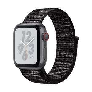 Apple Watch Series 4 Nike+ Cellular 40 mm - stellargrå med svart Nike Sport Loop