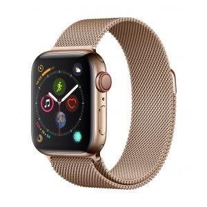 Apple Watch Series 4 Cellular 40 mm - rustfritt stål i gull med gull Milanese Loop