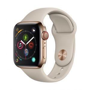 Apple Watch Series 4 Cellular 40 mm - rustfritt stål i gull med stengrå Sport Band
