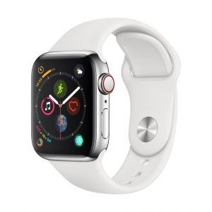 Apple Watch Series 4 Cellular 40 mm - rustfritt stål med hvit Sport Band