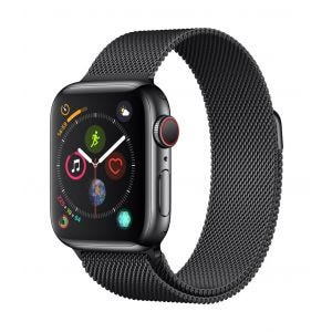 Apple Watch Series 4 Cellular 40 mm - rustfritt stål i stellarsvart med stellarsvart Milanese Loop