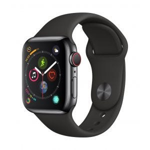 Apple Watch Series 4 Cellular 40 mm - rustfritt stål i stellarsvart med svart Sport Band