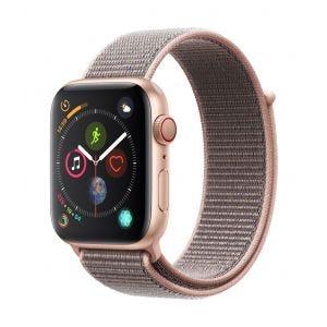 Apple Watch Series 4 Cellular 44 mm - gull med sandrosa Sport Loop