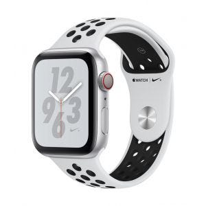 Apple Watch Series 4 Nike+ Cellular 44 mm - sølv med platina/svart Nike Sport Band