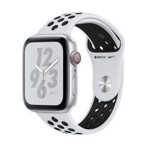 Apple Watch Series 4 Nike+ Cellular 44 mm - sølv med platina/svart Nike Sport Band
