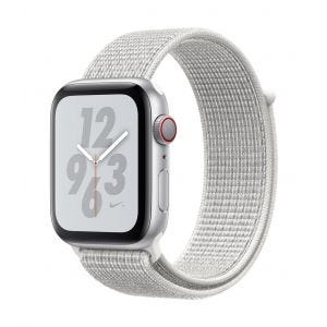 Apple Watch Series 4 Nike+ Cellular 44 mm - sølv med Summit-hvit Nike Sport Loop