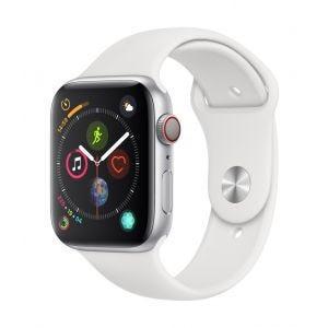 Apple Watch Series 4 Cellular 44 mm - sølv med hvit Sport Band